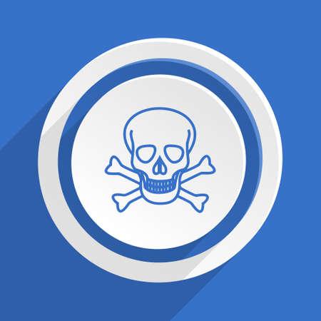 pirating: skull blue flat design modern icon