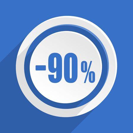90: 90 percent sale retail blue flat design modern icon