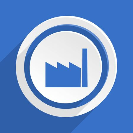 industrial complex: factory blue flat design modern icon Stock Photo