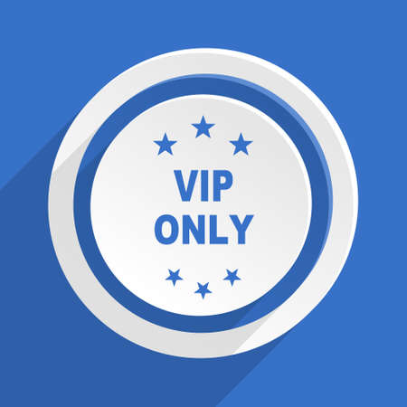 only: vip only blue flat design modern icon