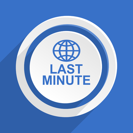 last minute: last minute blue flat design modern icon Stock Photo