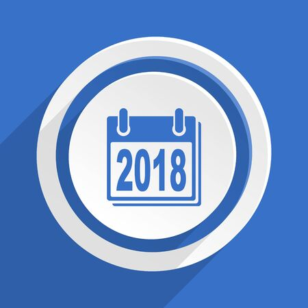 agenda year planner: new year 2018 blue flat design modern icon