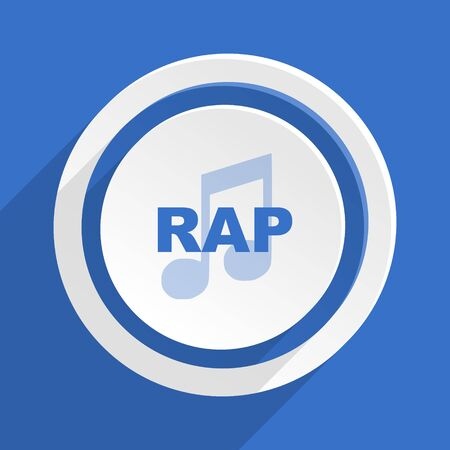 rap music: rap music blue flat design modern icon Stock Photo