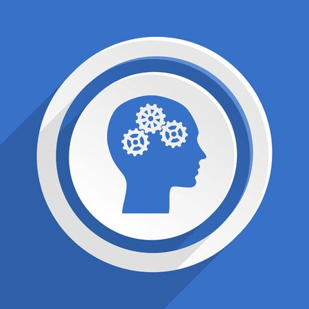 brainy: head blue flat design modern icon Stock Photo