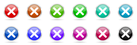 disagree: cancel colorful web icons set
