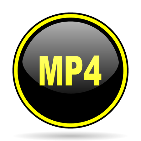 mp4: mp4 black and yellow modern glossy web icon