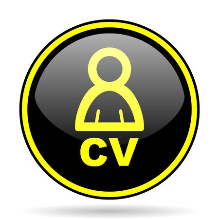 job descriptions: cv black and yellow modern glossy web icon Stock Photo
