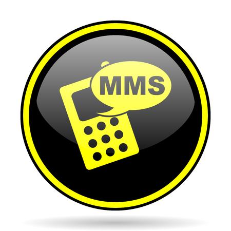 mms: mms black and yellow modern glossy web icon