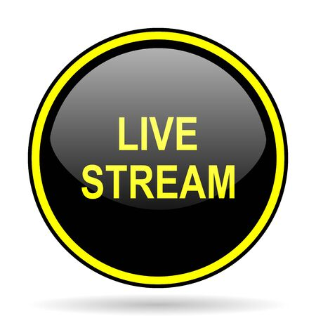 live stream black and yellow modern glossy web icon