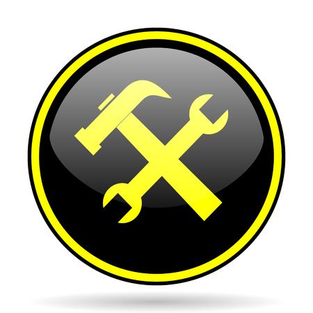 option key: tool black and yellow modern glossy web icon Stock Photo