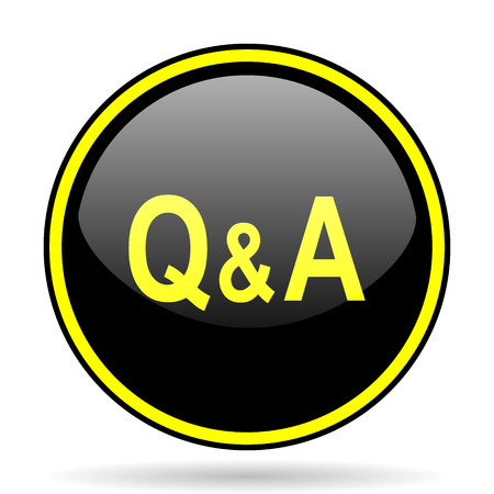 question and answer: question answer black and yellow modern glossy web icon