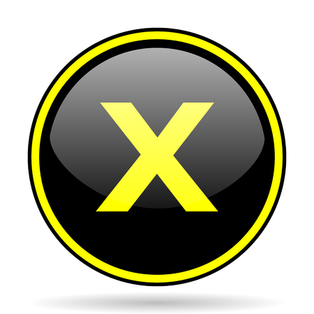 disagree: cancel black and yellow modern glossy web icon