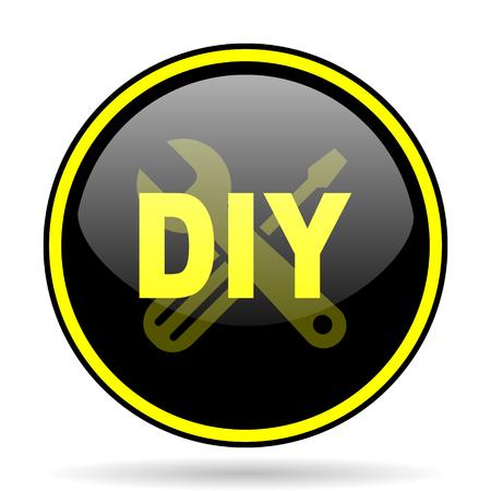 option key: diy black and yellow modern glossy web icon