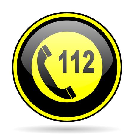 emergency call: emergency call black and yellow modern glossy web icon Stock Photo