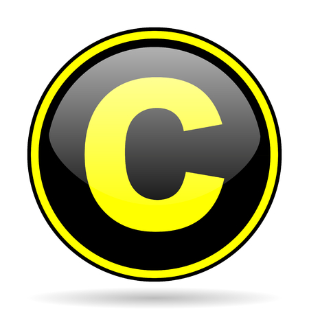 patent key: copyright black and yellow modern glossy web icon