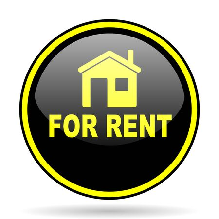 rent: for rent black and yellow modern glossy web icon Stock Photo