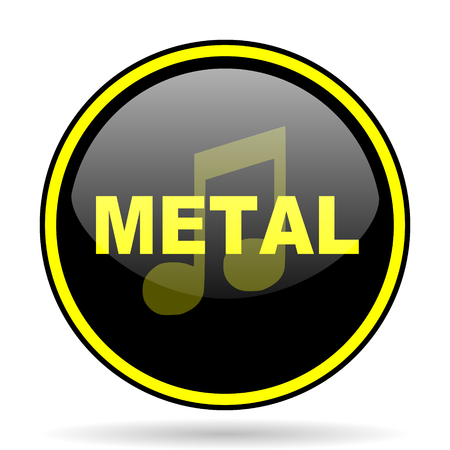 metal music: metal music black and yellow modern glossy web icon