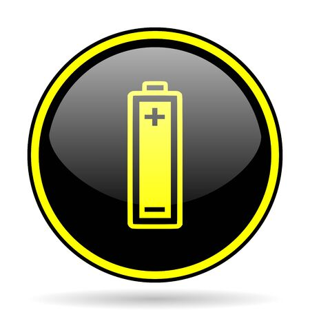 accuse: battery black and yellow modern glossy web icon Stock Photo