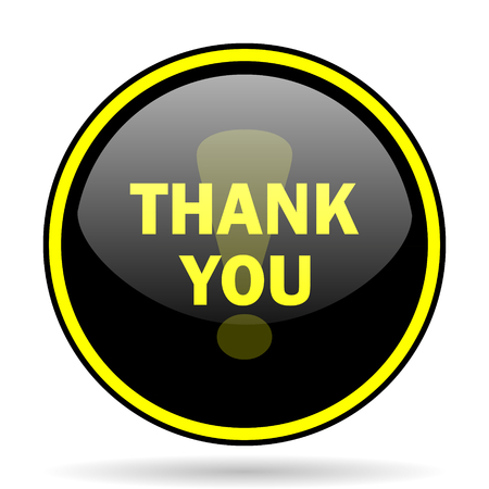 you black: thank you black and yellow modern glossy web icon