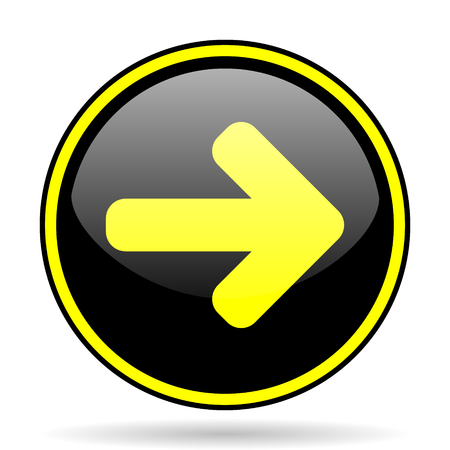 navigation panel: right arrow black and yellow modern glossy web icon