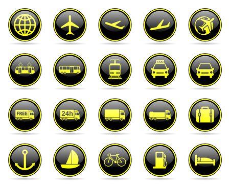 glossy icons: transport web glossy icons set Stock Photo