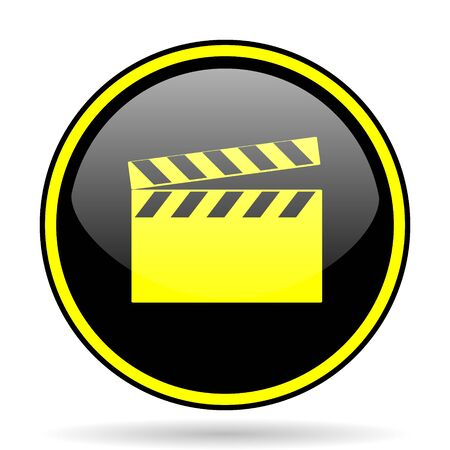 directors cut: video black and yellow modern glossy web icon