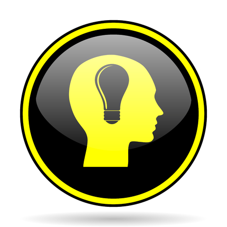 keen: head black and yellow modern glossy web icon