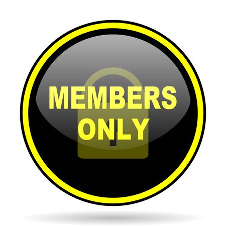only members: members only black and yellow modern glossy web icon Stock Photo