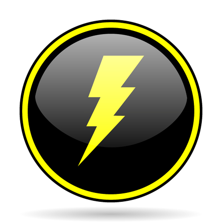 high voltage current: bolt black and yellow modern glossy web icon Stock Photo