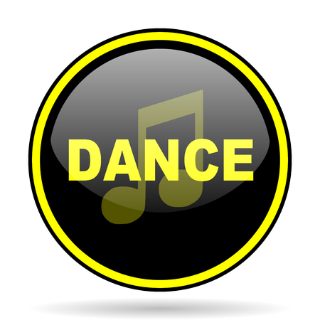 live stream radio: dance music black and yellow modern glossy web icon