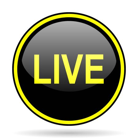 news cast: live black and yellow modern glossy web icon