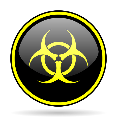 bacterioa: biohazard black and yellow modern glossy web icon