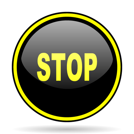 proscribed: stop black and yellow modern glossy web icon Stock Photo