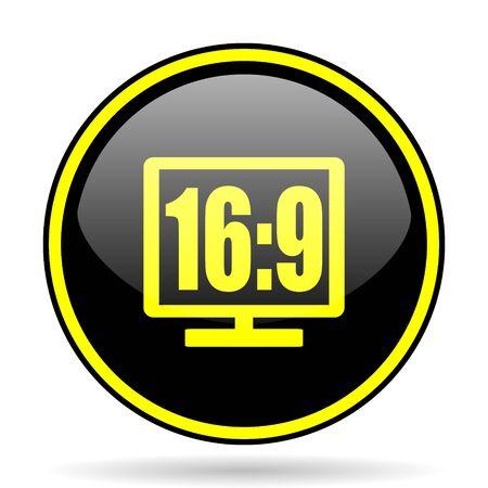 16: 16 9 display black and yellow modern glossy web icon Stock Photo
