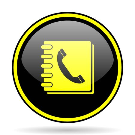 phonebook: phonebook black and yellow modern glossy web icon