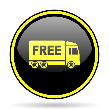 d�livrance: free delivery black and yellow modern glossy web icon