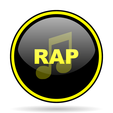 rap music: rap music black and yellow modern glossy web icon Stock Photo