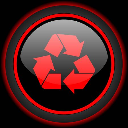 application recycle: recycle black and red glossy internet icon on black background Stock Photo