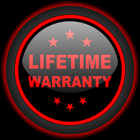 lifetime: lifetime warranty black and red glossy internet icon on black background