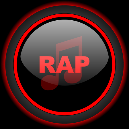 rap music: rap music black and red glossy internet icon on black background Stock Photo