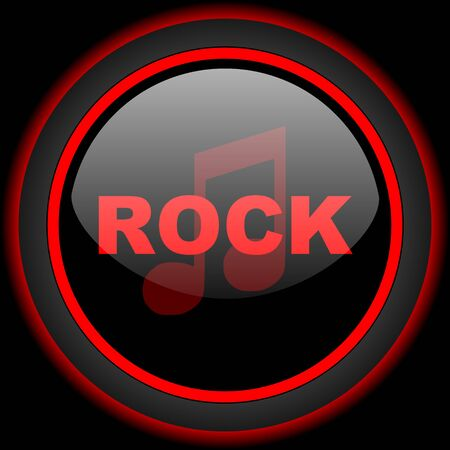 live stream radio: rock music black and red glossy internet icon on black background Stock Photo
