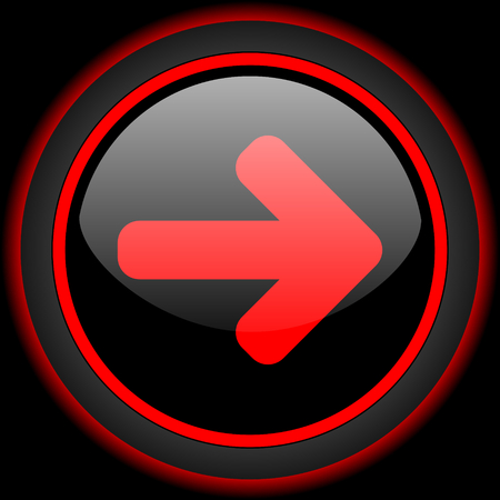 black button: right arrow black and red glossy internet icon on black background Stock Photo