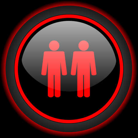 gay couple: Gay couple black and red glossy internet icon on black background