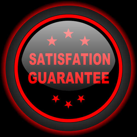 satisfaction guarantee: satisfaction guarantee black and red glossy internet icon on black background Stock Photo