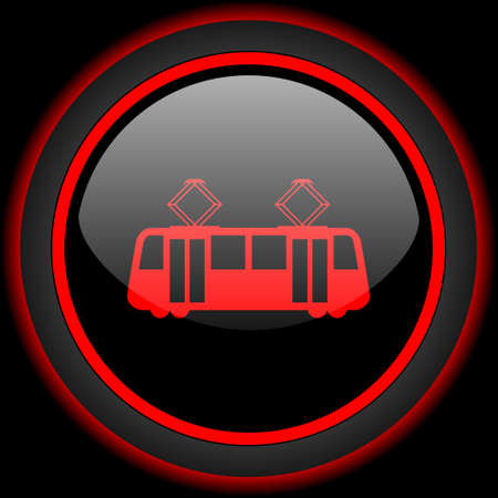 streetcar: tram black and red glossy internet icon on black background Stock Photo