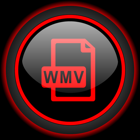 wmv: wmv file black and red glossy internet icon on black background Stock Photo