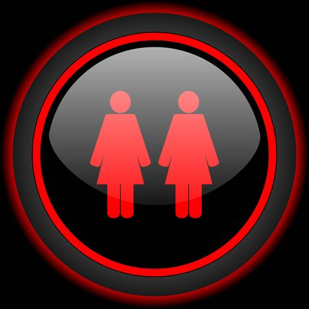 black lesbian: Lesbian couple black and red glossy internet icon on black background Stock Photo