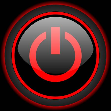 run off: power black and red glossy internet icon on black background