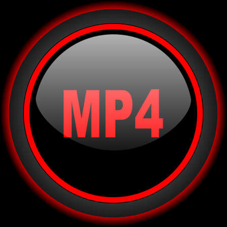 mp4: mp4 black and red glossy internet icon on black background
