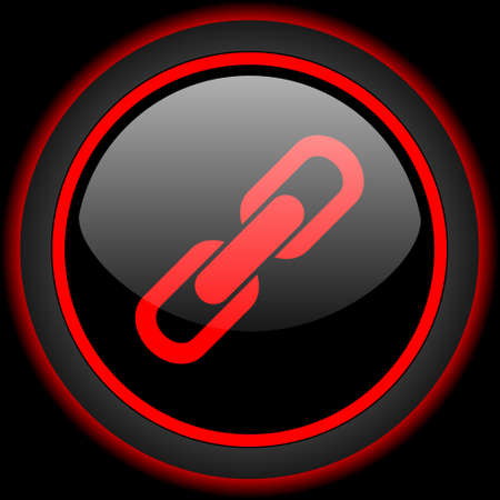 cohesion: link black and red glossy internet icon on black background Stock Photo